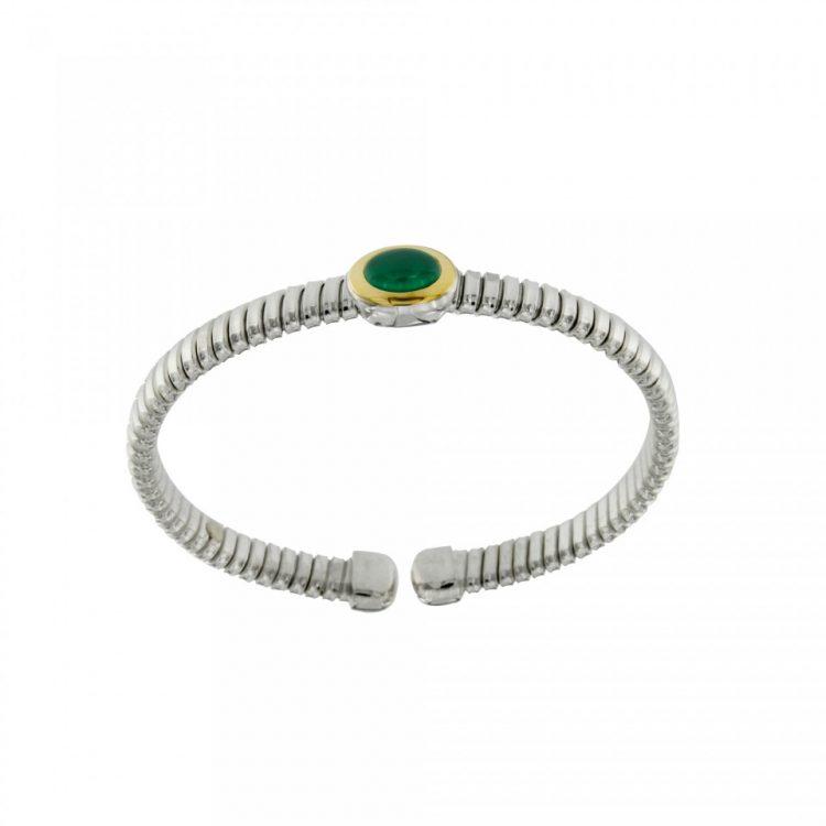 NUOVA bracciale-tubogas-a-molla-in-argento-925-con-testina-in-oro-18ct-e-agata-verde-BRT026AV-960x960