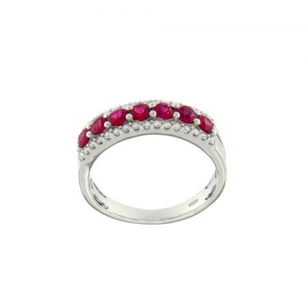 Anello oro bianco rubini diamanti