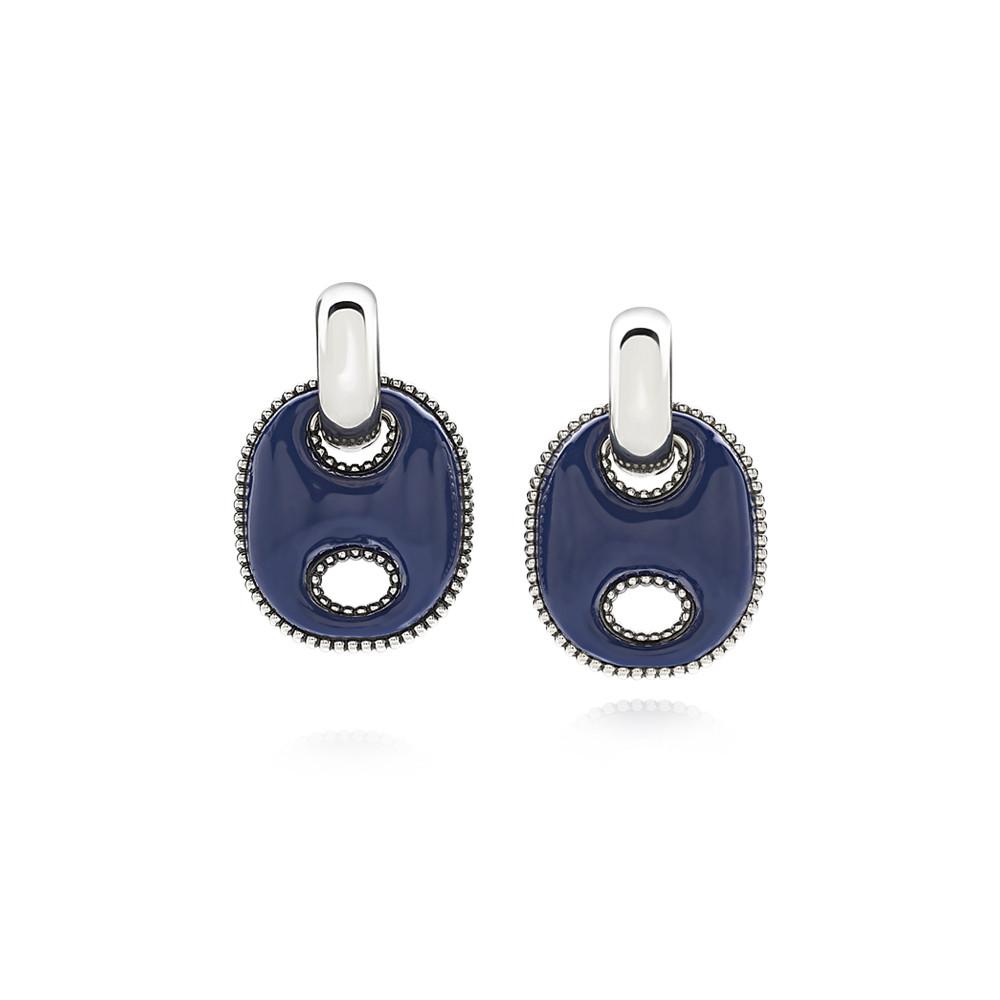 Orecchini Capriness maglia marina in argento e smalto blu 40189