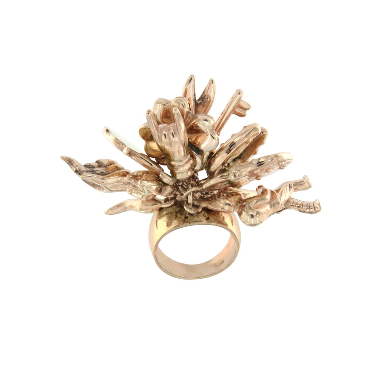 De Maria anello fortuna in argento 925 placato oro rosa e giallo con charms argento e rubini luky charms ring
