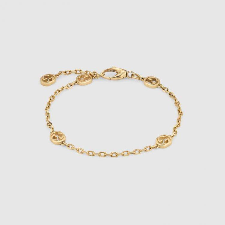 Bracciale Gucci INTERLOCKING 18 carati dettagli GG