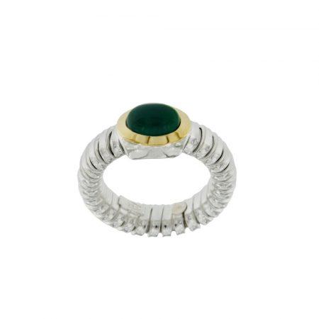 Anello tubogas argento oro Agata Verde