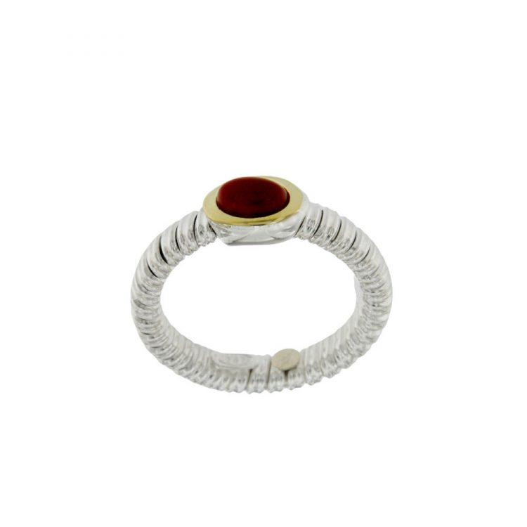 ANT029 anello tubogas stretto in argento 925 con finiture oro e corniola