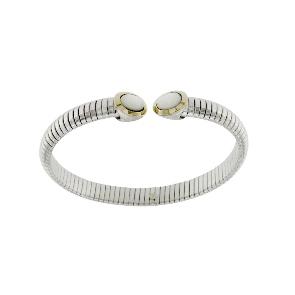 BRT010AB bracciale tubogas in argento 925 con finitura oro e agata bianca