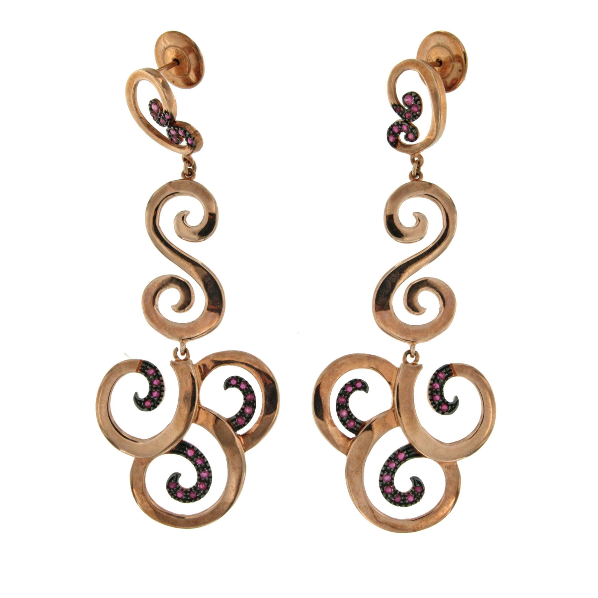 silver pendant earring rose gold plated orecchini pendenti argento De Maria