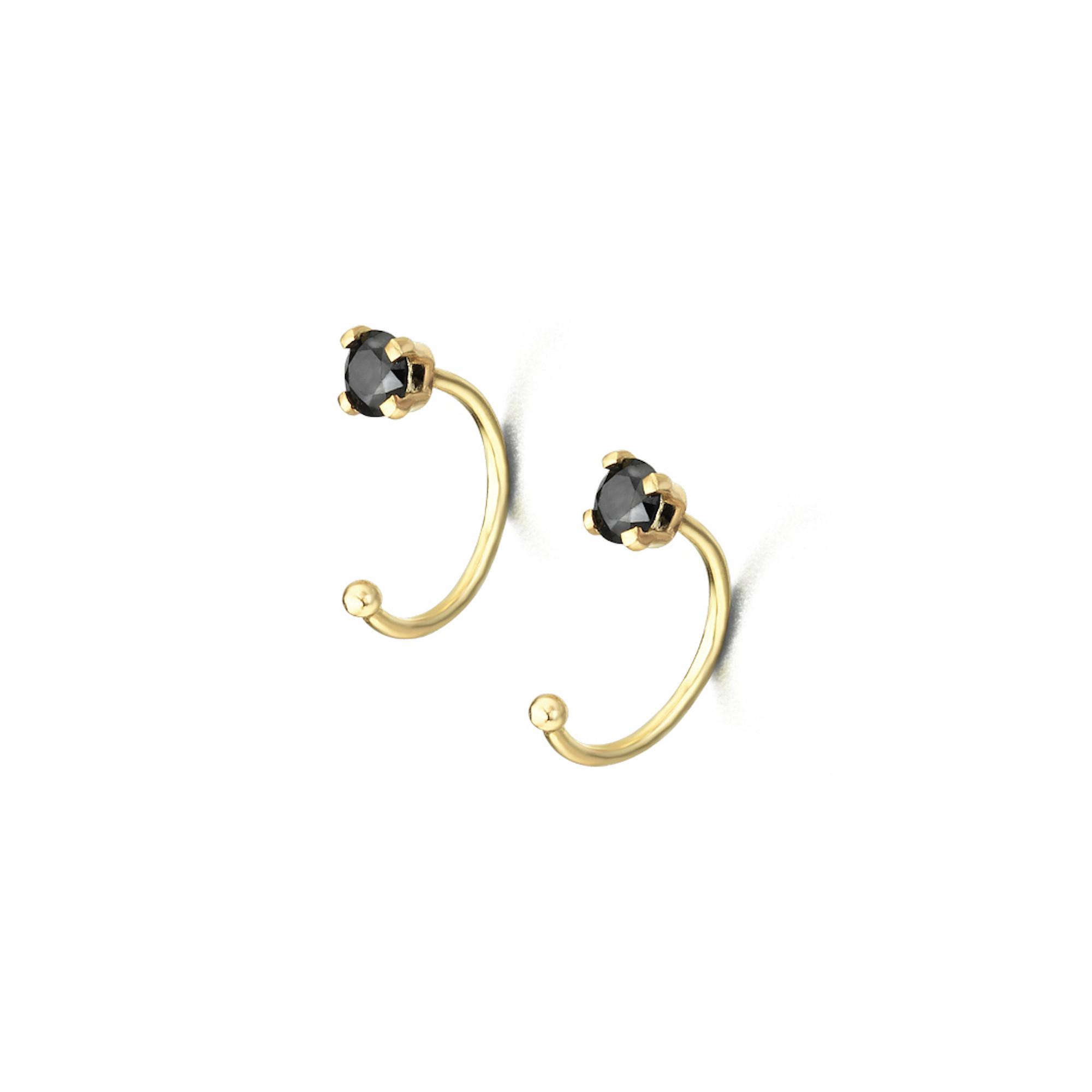 GB019NE orecchini oro giallo spinelli neri black gold earrings discount sconto