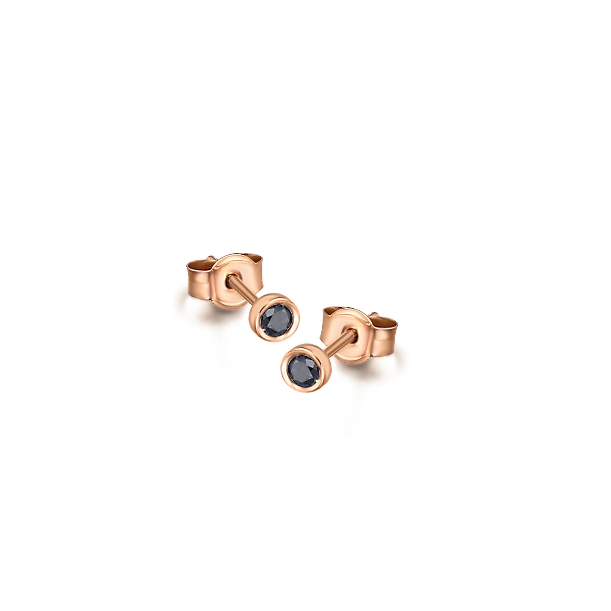 GB020ORBL orecchini oro rosa diamanti neri earrings black diamonds discount sconto