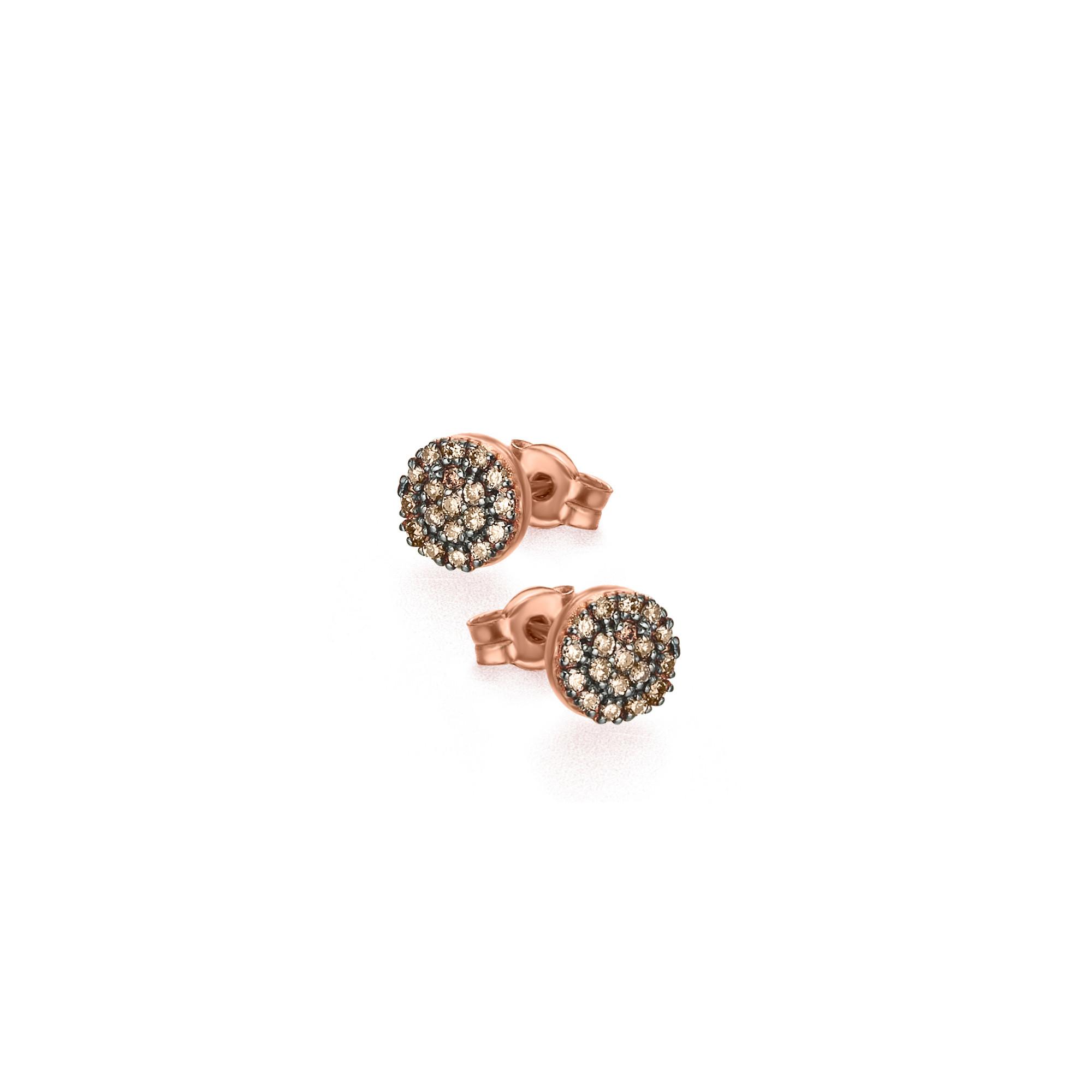 GB090ORBR orecchini oro rosa diamanti brown diamonds earrings discount sconto