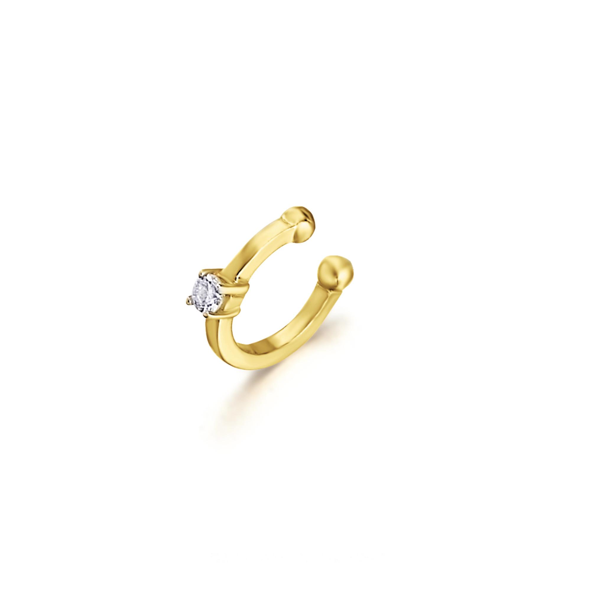 LE CARRÈ helix mono orecchino oro giallo diamante solitario diamond gold sconto discount