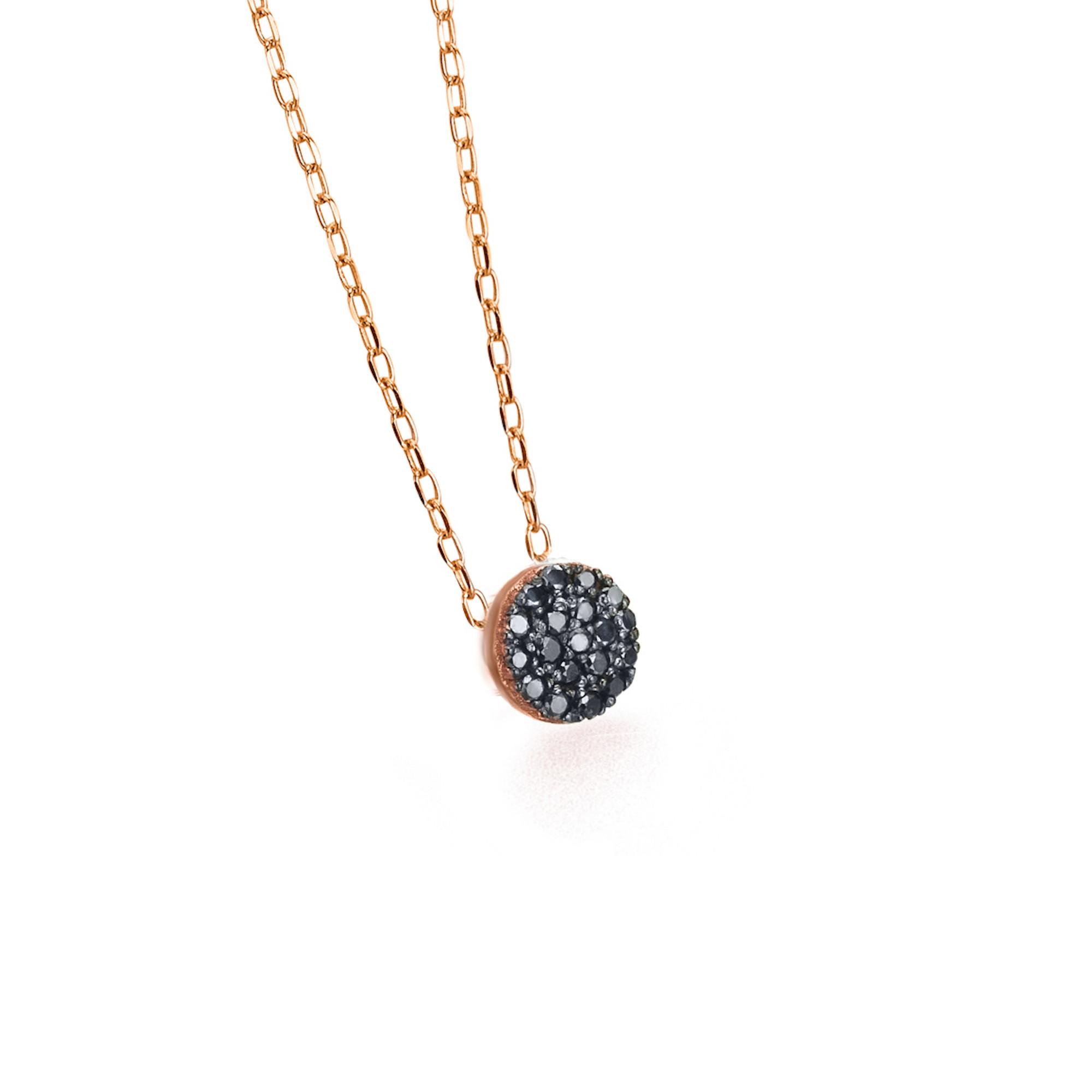 GD073OR-BL collana or rosa diamanti neri necklace black diamond discout code codice sconto