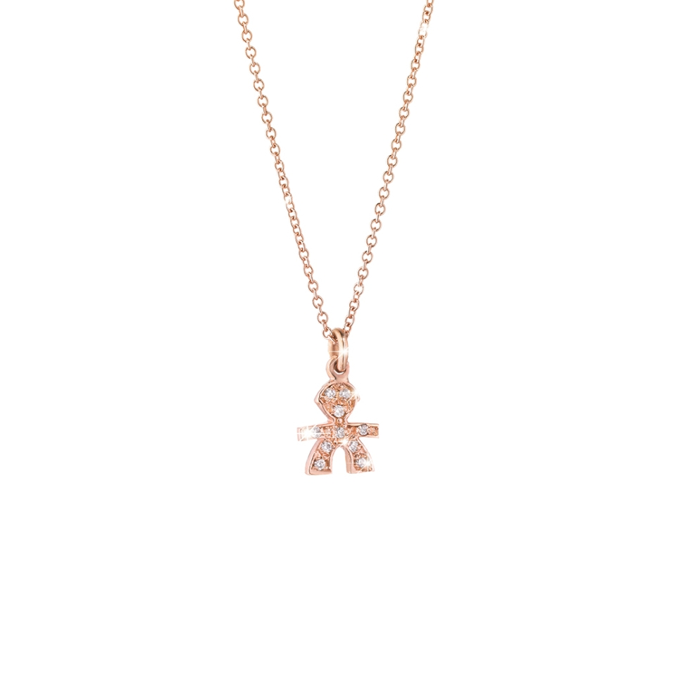 LBB323 collana le bebè diamanti maschietto oro rosa