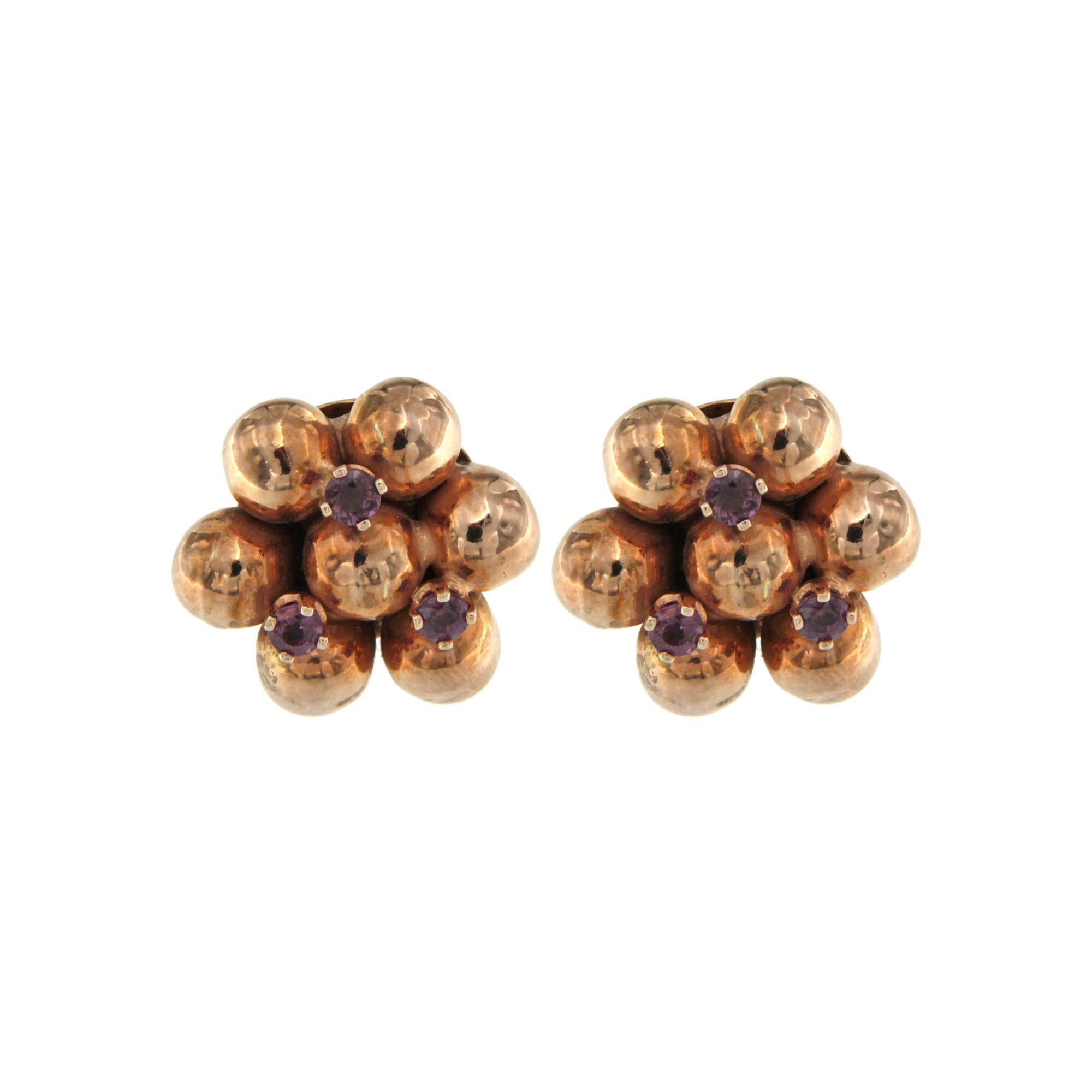 Orecchini argento oro rosa sfere De Maria earrings silver rose gold