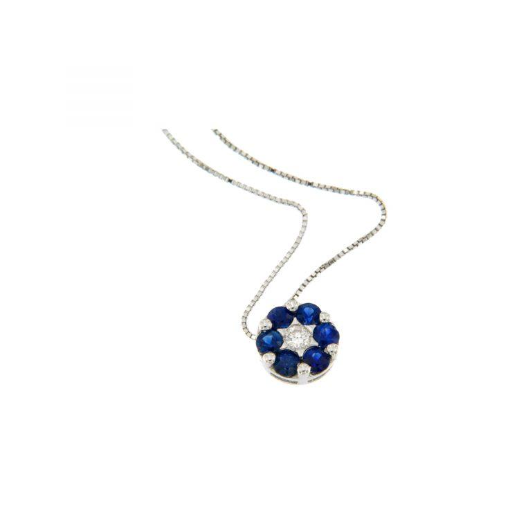 Pendente fiore flower pendant ciondolo necklace zaffiri sapphires sconto discount collana