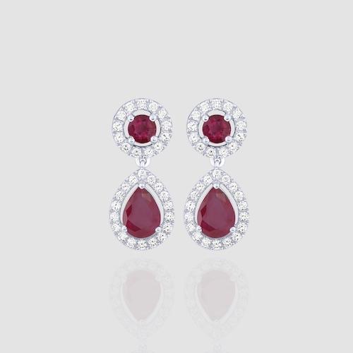 orecchini diamanti e rubini earrings