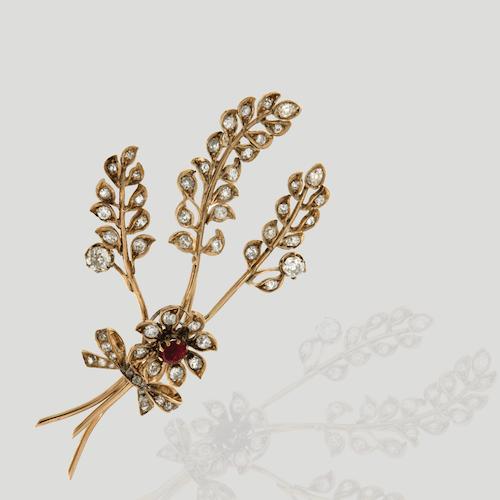spilla antica diamanti rubini ruby diamond brooch