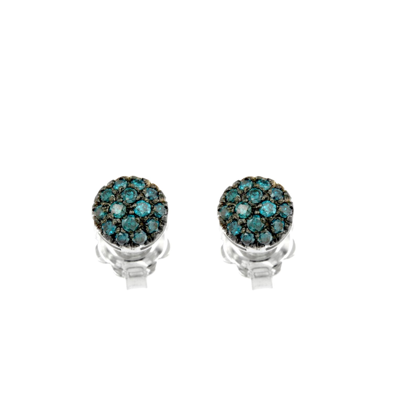 Orecchini oro bianco diamanti blu earrings sconto discount 45308_Dblue_G