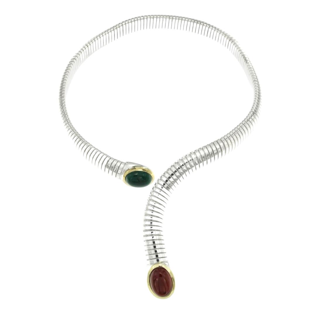 Collana Tubogas argento 925, finiture oro e pietre dure Agata e Corniola necklace silver codice sconto discount