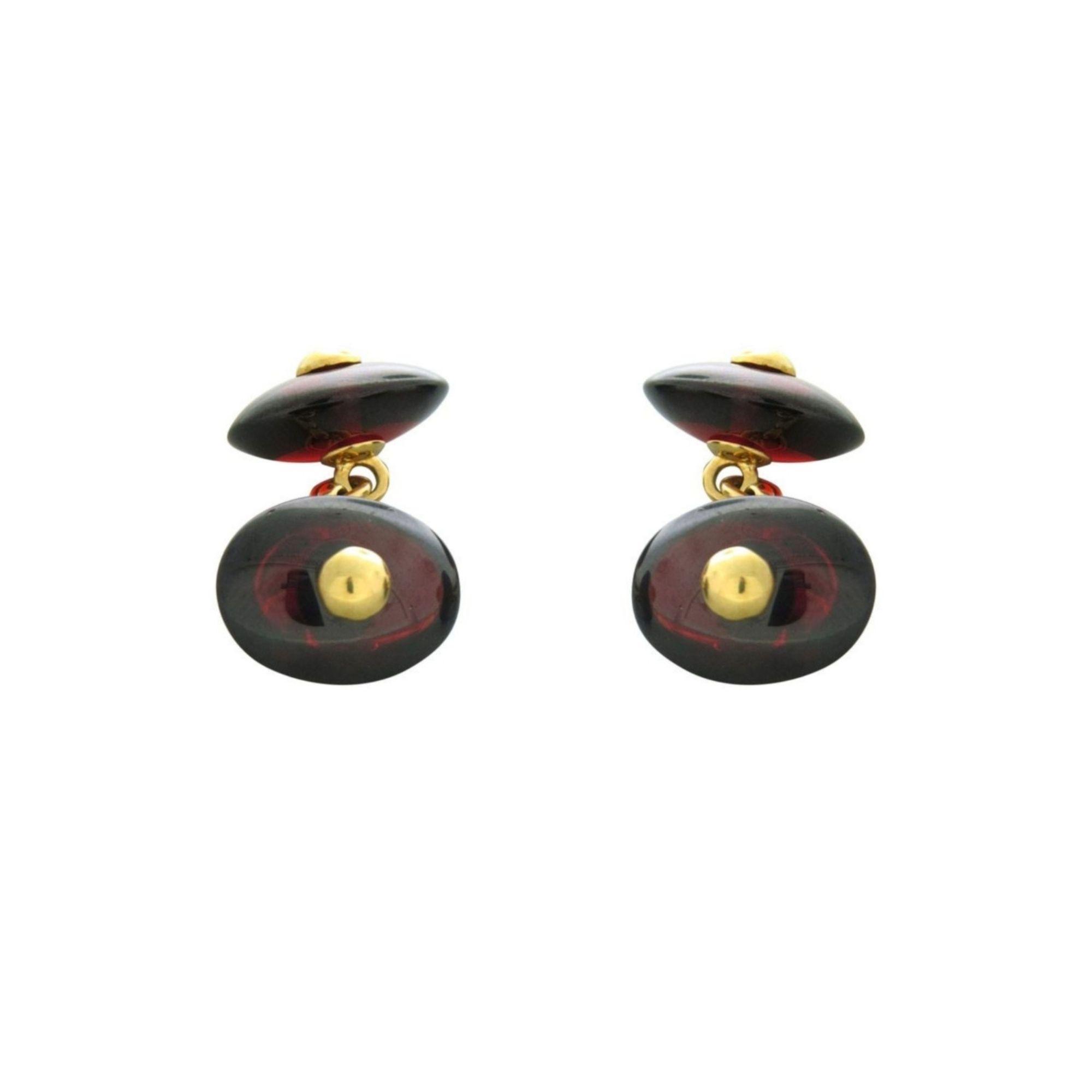 Gemelli pomellato oro giallo e granati