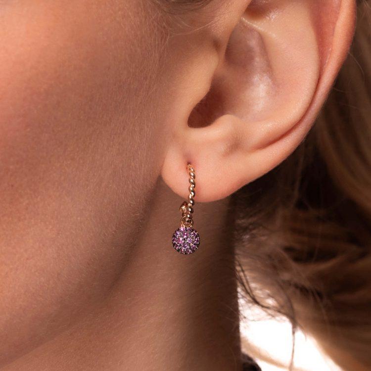 Orecchini oro rosa semicerchi motivo treccina zaffiri rosa 45348_Zrosa earrings sapphires pink sconto discount
