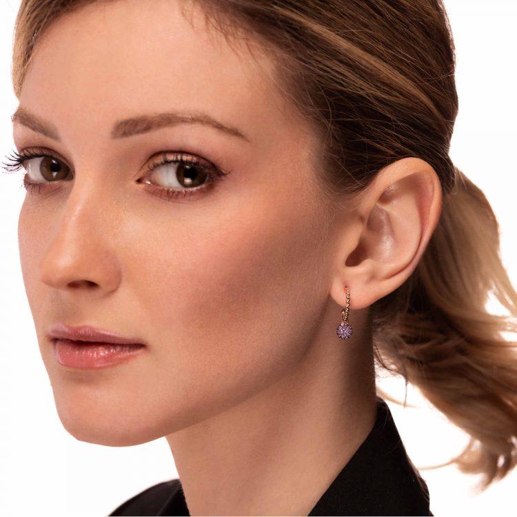 Orecchini oro rosa semicerchi motivo treccina zaffiri rosa 45348_Zrosa earrings sapphires pink sconto discount a