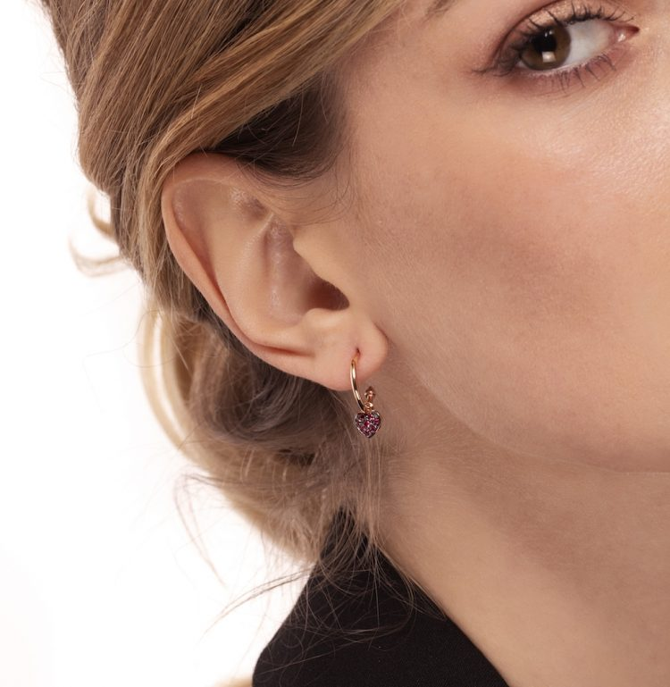 orecchini cuori rubini earrings heart rubies sconto discount