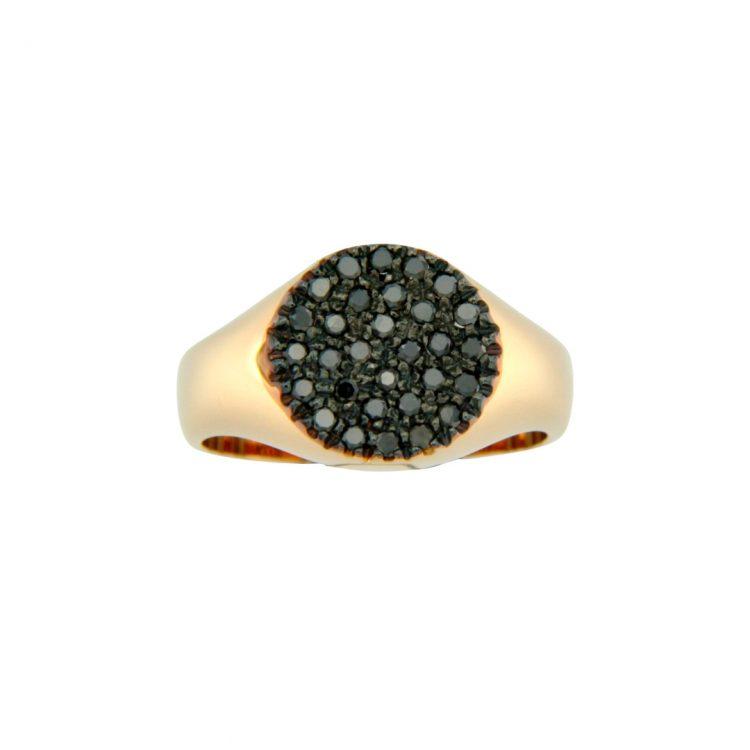 anello mignolo oro rosa brillanti neri
