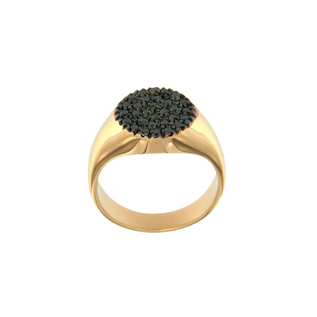anello mignolo oro rosa brillanti neri pinky chevalier ring black diamond