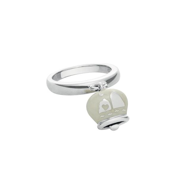 36388-Anello CHANTECLER campanella double face faraglioni bell silver ring enamel discount sconto