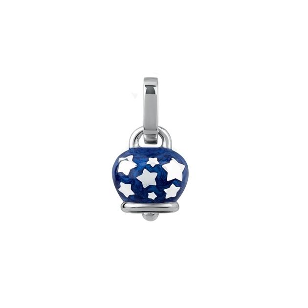 Chantecler Ciondolo micro campanella double face in argento e smalto blu stelline pendant bell starsblue discount silver sconto