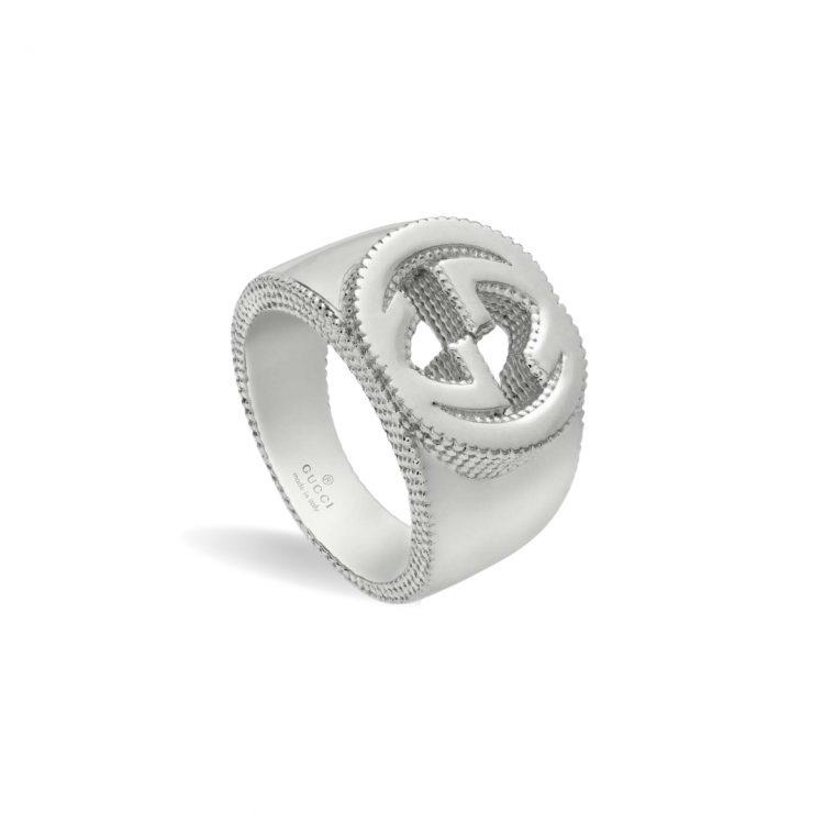 discount sconto Anello Gucci dettaglio Doppia G Argento large interlocking g Gucci ring silver