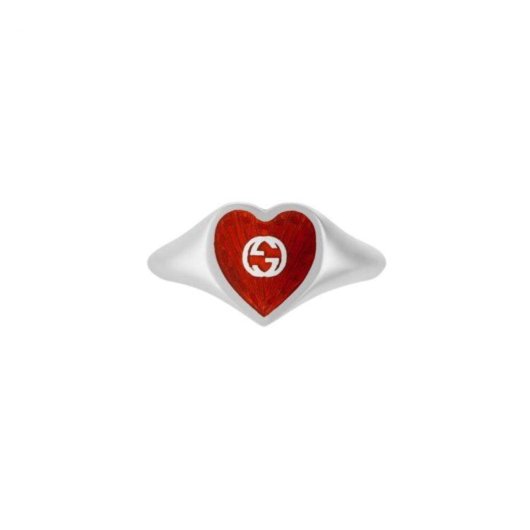 645544_J8410_8133_001_100_0000_Light-Anello-con-cuore-in-smalto-GG GUCCI RING ROSSO SILVER SCONTO DISCOUNT