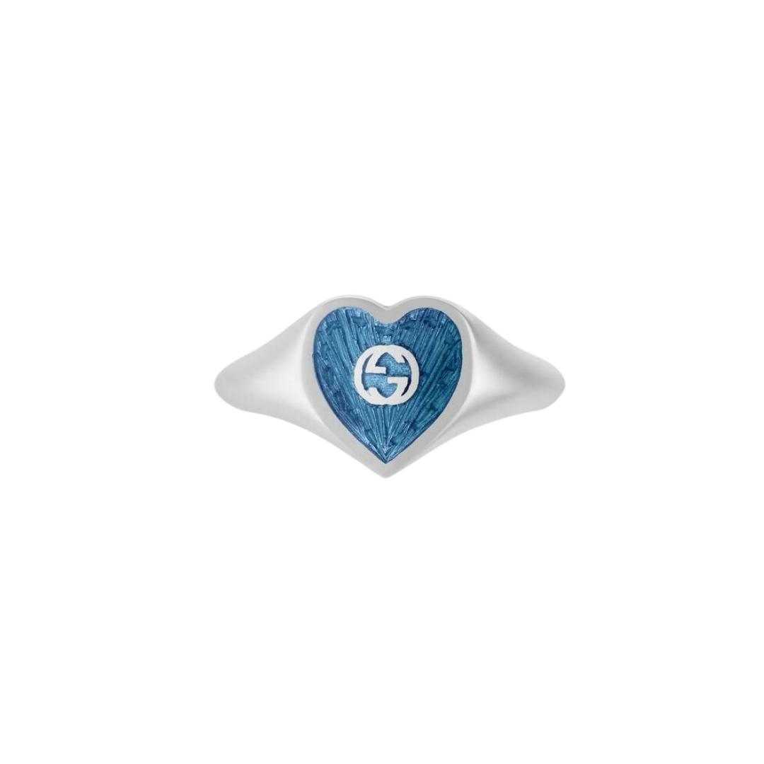 645544_J8410_8183_001_100_0000_Light-Anello-con-cuore-in-smalto-GG RING SILVER BLUE SCONTO GUCCI DISCOUNT