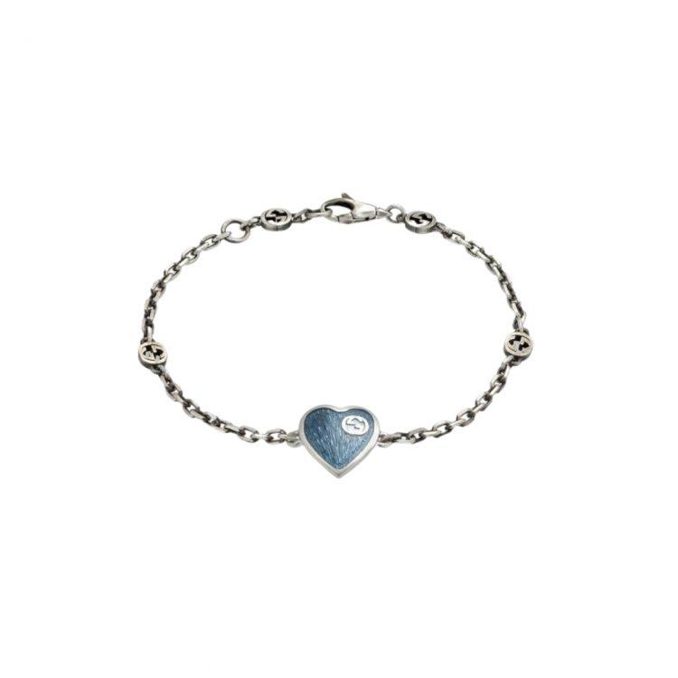 645546_J89B4_8490_001_100_0000_Light-Bracciale-con-cuore-in-smalto-GG BRACCIALE BRACELET BLUE SCONTO DISCOUNT