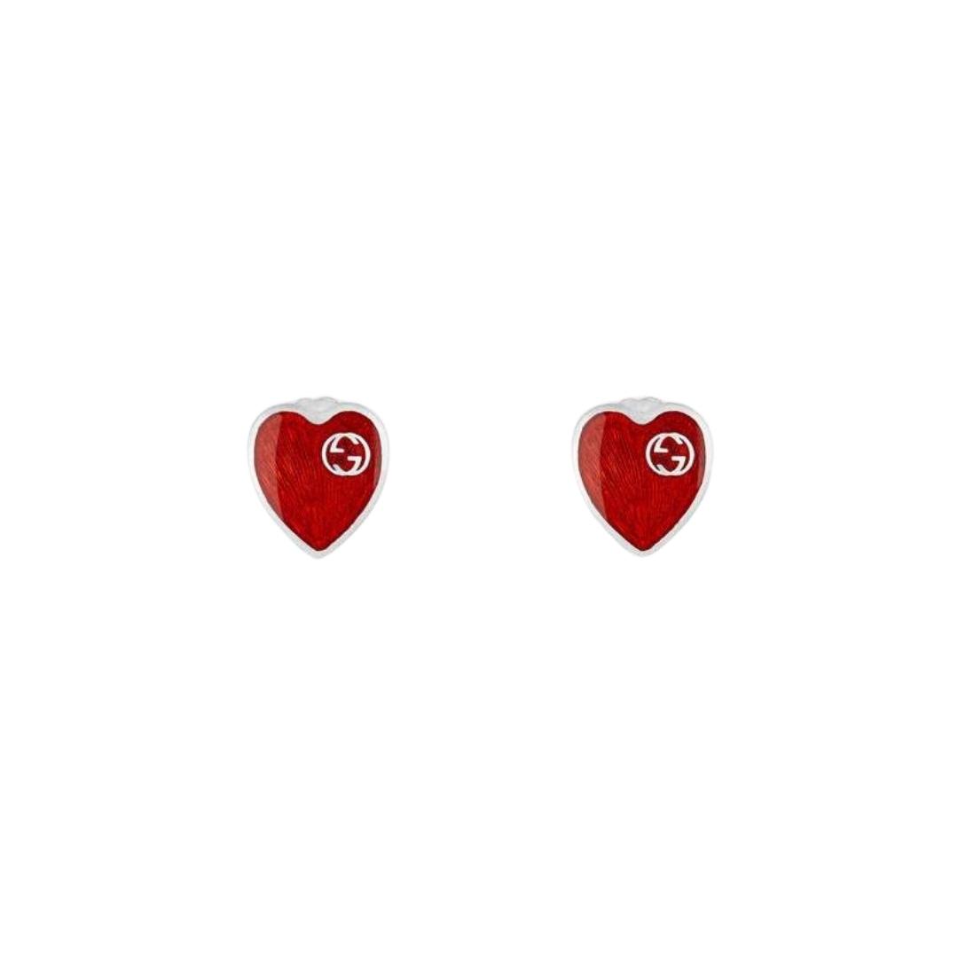 645547_J8410_8166_001_100_0000_Light-Orecchini-con-cuore-in-smalto-GG EARRINGS RED ENAMEL SILVER EARRINGS GUCCI SCONTO DISCOUNT