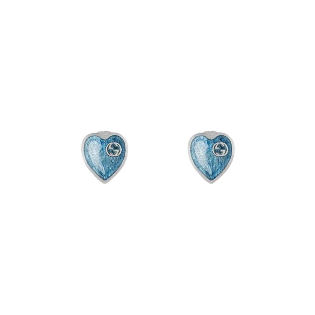 645547_J8410_8183_001_100_0000_Light-Orecchini-con-cuore-in-smalto-GG BLUE ENAMEL EARRINGS SILVER GUCCI SCONTO DISCOUNT HEART