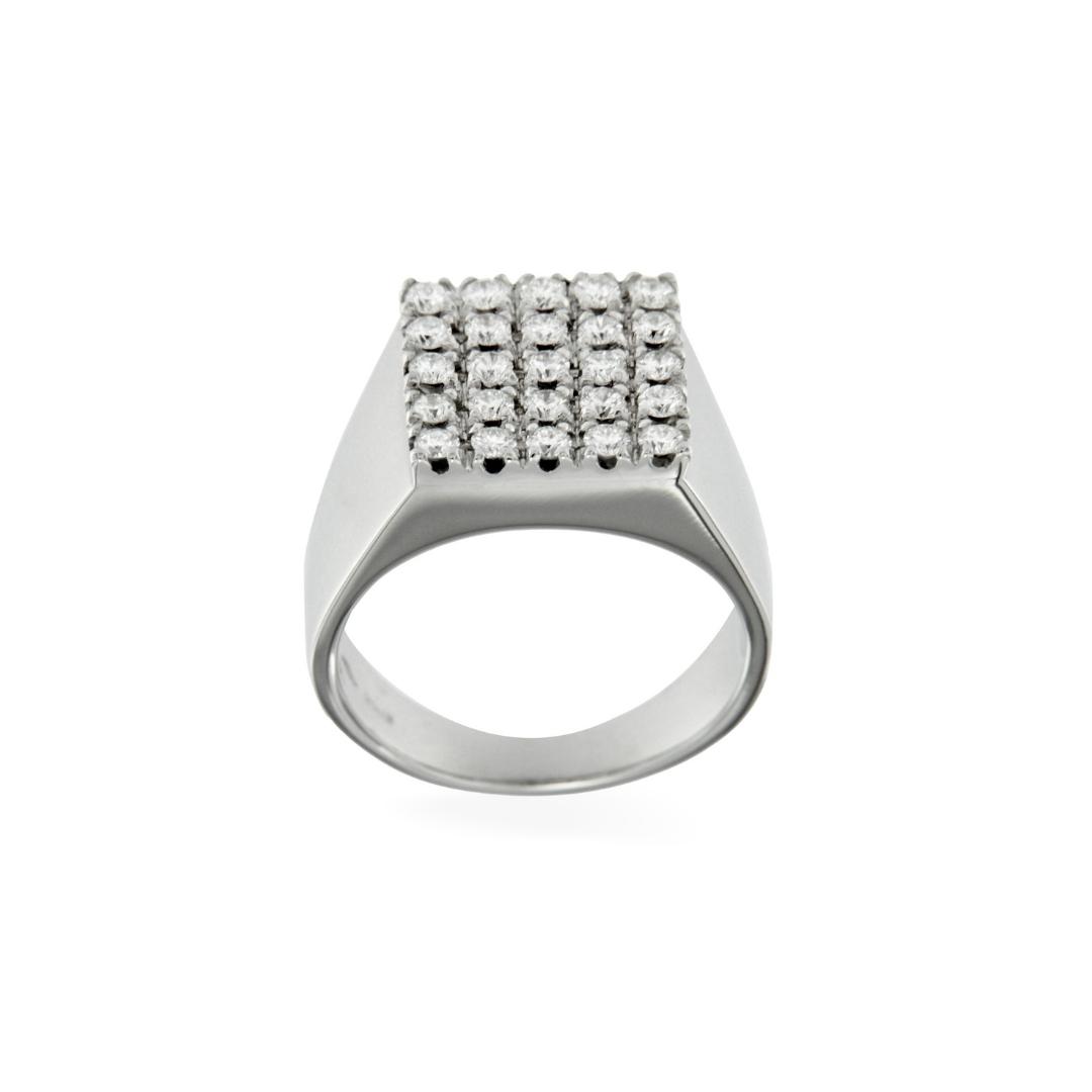 7039-33 anello timbro diamanti bianchi rettangolare oro bianco diamonds stamp ring chevalier pinky ring sconto discount