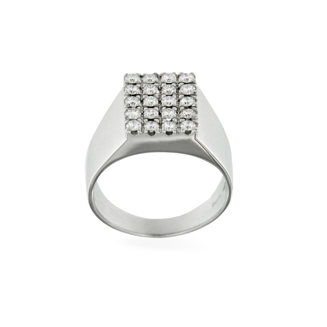 anello quadrato timbro diamanti bianchi oro bianco diamonds stamp chevalier pinky ring sconto discount