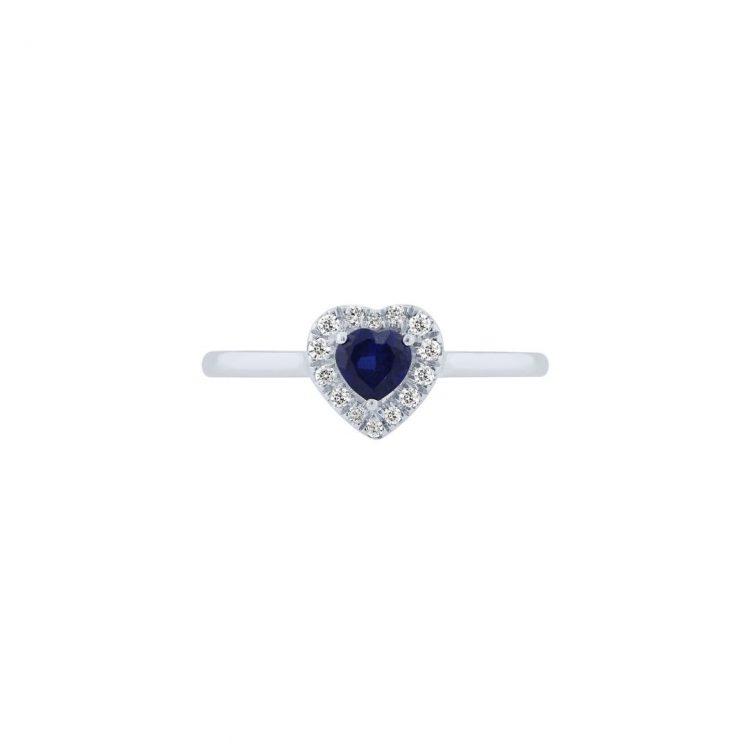 Anello oro bianco con zaffiro cuore engagement heart ring sapphire sconto discount
