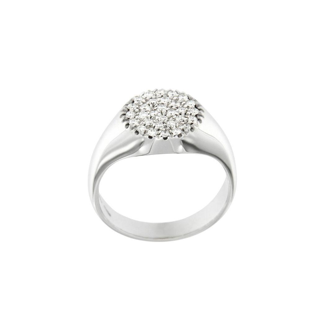 anello mignolo oro-bianco lucido DIAMANTI bianchi CHEVALIER PINKY RING SCONTO DISCOUNT
