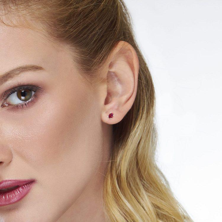 Orecchini cuori in oro e rubino ruby earrings sconto discount
