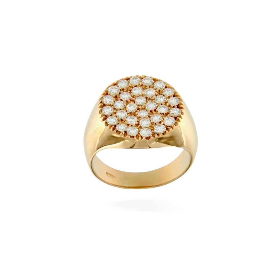 OTT_TON_OR_B anello mignolooro rosa diamanti bianchi tondo chevalier ring pinky stamp sconto discount