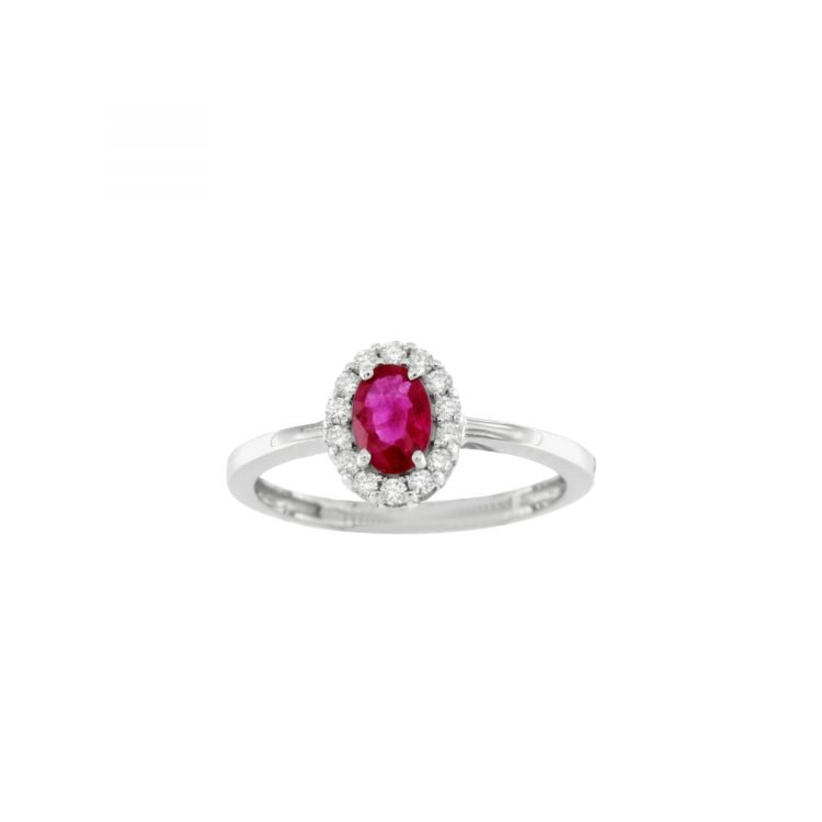 Anello in oro bianco con rubino e diamanti ruby engagement ring diamonds sconto discount