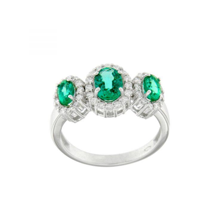 Anello in oro bianco smeraldi e diamanti emerald engagement ring diamonds sconto discount