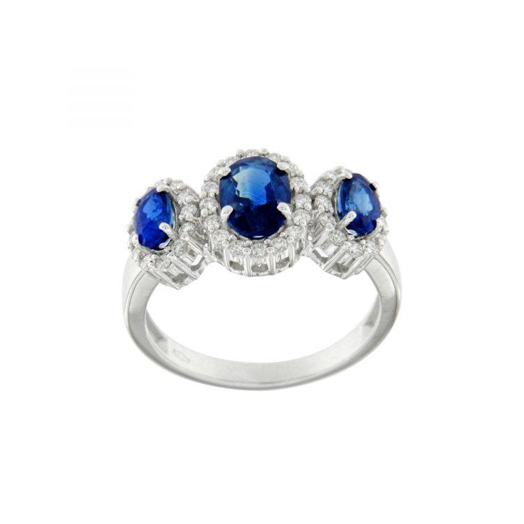 Anello oro bianco con zaffiri sappires engagement ring trilogy sconto discount