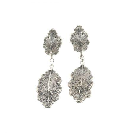 OAK PENDANT EARRINGS ORECCHINI QUERCIA PENDENTI 1 FOGLIA PICCOLA 1 FOGLIA MEDIA; buccellati earrings silver argento SCONTO DISCOUNT
