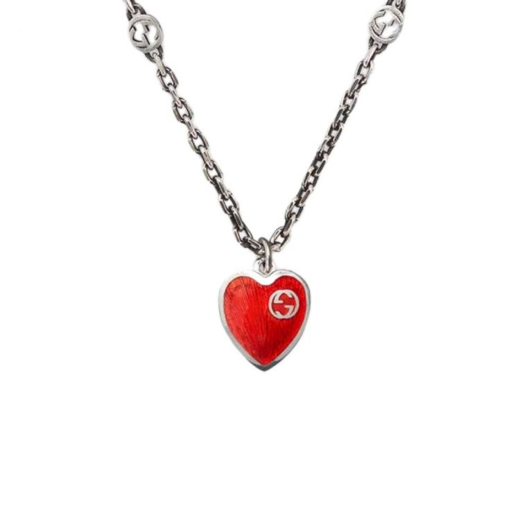 645545_J89B4_8490_001_100_0000_Light-Collana-con-cuore-in-smalto-GG necklace enamel heart GUCCI
