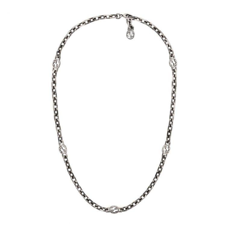 Collana CHOKER Gucci argento con GG 60CM NECKLACE 616941 J8400 0811 SCONTO DISCOUNT
