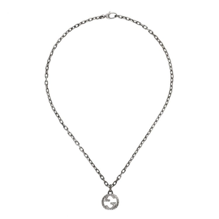 Collana GUCCI Collana con pendente GG a 455307 J8400 0811 necklace silver interlocking sconto discount
