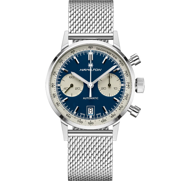 h38416141 orologio hamilton american classic intra matic blu watch sconto discount