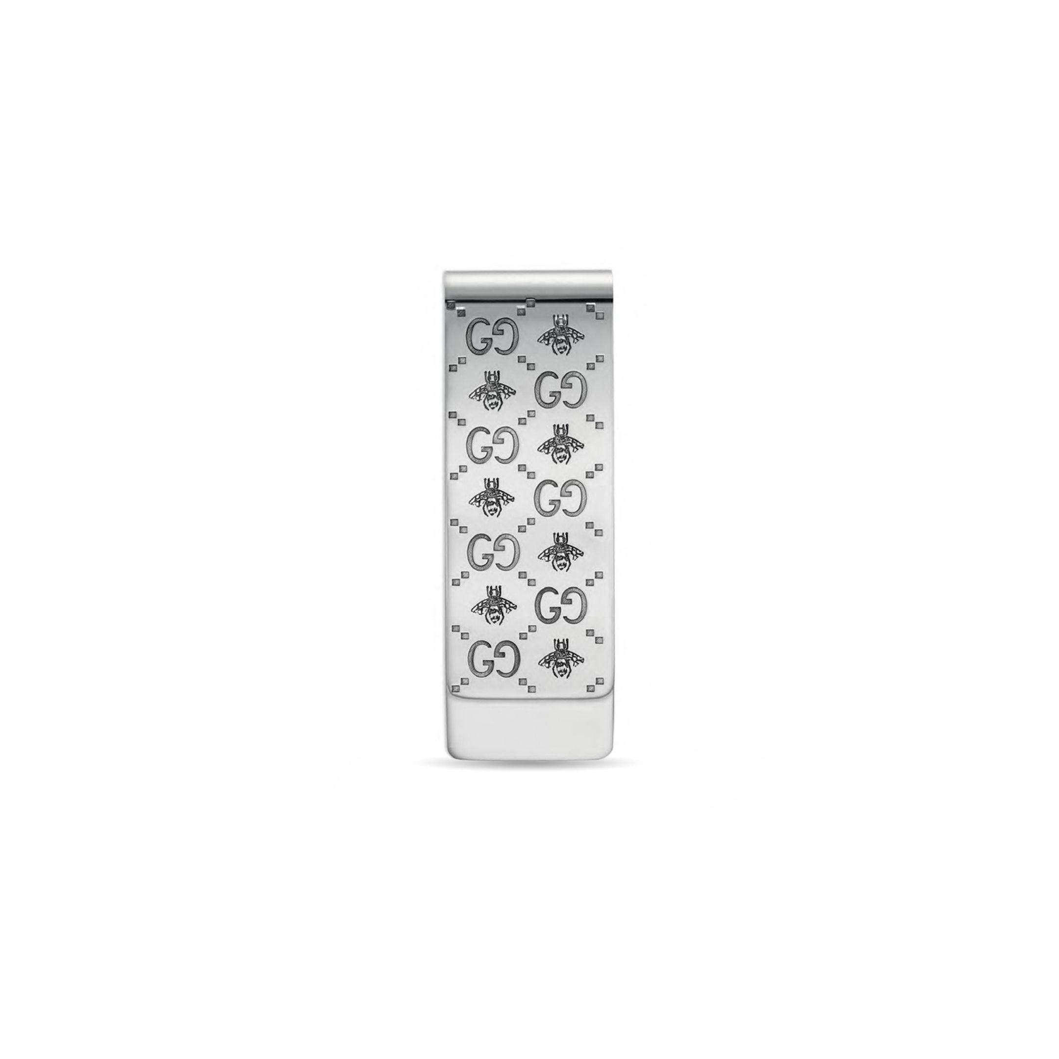 YBF455884001 germasoldi argento Gucci bee moneyclip sconto discount